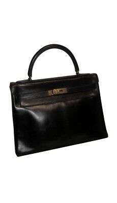 BAG - SAC Vintage Hermes Kelly 32 Cm. Cuir Noir Box - EUR 1.999,00 ... a8cd1a5a461