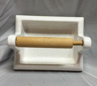 Vintage Porcelain Toilet Paper Tissue Holder Tile White Grey Speckled 446-18C