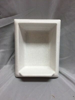 Vtg Porcelain Soap Dish Pocket Recessed Tile White With Grey Speckles 449-18C