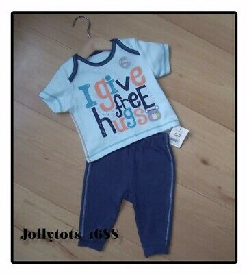 Baby Boys Top & Trouser Set Age 0-3 Months 2 piece Casual Blue & Green Outfit