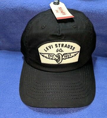 151d9935bd3 Levi Strauss Men s Hat Black Snapback Baseball Cap Wing Tire Patch Logo New  ...