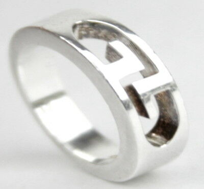 12569f2a4 AUTH GUCCI Beautiful Double G Cut Out *Heavy* Sterling Silver 925 Ring SIZE  8