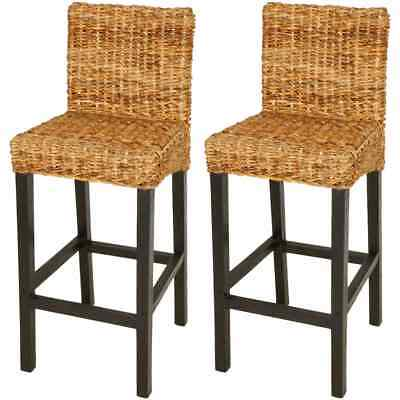 2 Pcs Rattan Bar Stools Chair with Backrest Kitchen Breakfast Rustic Abaca Brown