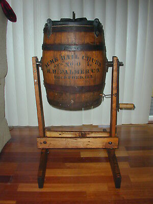 Large Antique Acme Ball Wood Butter Churn, with original Stand - No. 0