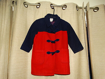 TALBOTS KIDS XS 4 5 boys girls red navy blue wool toggle coat dressy excellent