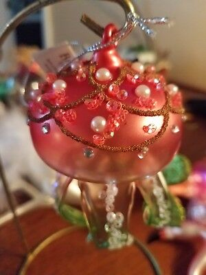 Bedazzled Octopus Glass with Pearls and sequin Tropical Christmas Ornament ~ NWT