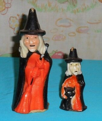 vintage Halloween GURLEY CANDLE 5-inch & 3-inch witch lot x2