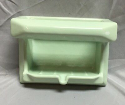 Vintage Porcelain Soap Dish with Bar Tile Light Green 450-18C