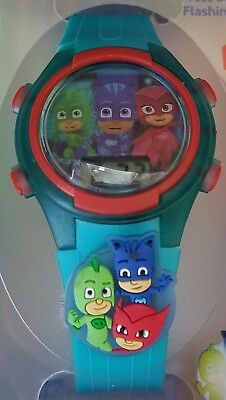 PJ Masks Flashing Charm & Dial LCD Kids Light Up Watch New