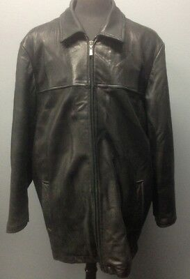 REILLY OLMES Black Leather Front Zip 2 Pocket Lined Collared Jacket XXL FF7621