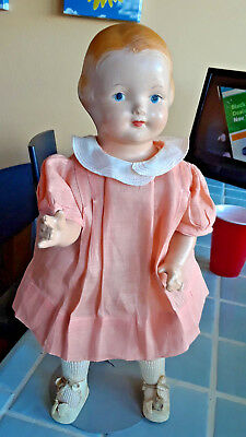 """Vintage 1920s Effanbee Composition Cloth Girl Baby Dainty Girl Doll 14"""" Tall"""