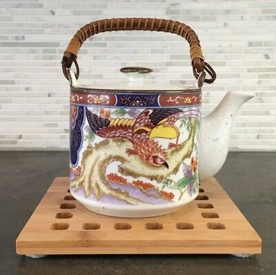 Vintage Japanese Imari Porcelain Teapot Asian Bird Floral Design Wicker Handle