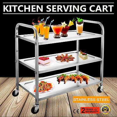 Kitchen Stainless Steel Serving Cart Utility Dolly Table Island Workstation