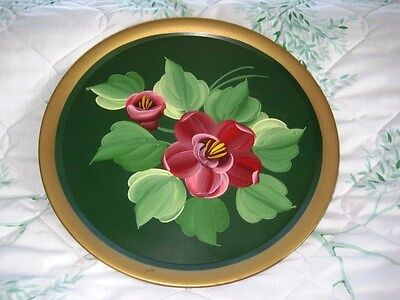 Vintage French Country Mid Century Green Dresser Tole Tray -Hand Painted Poppies