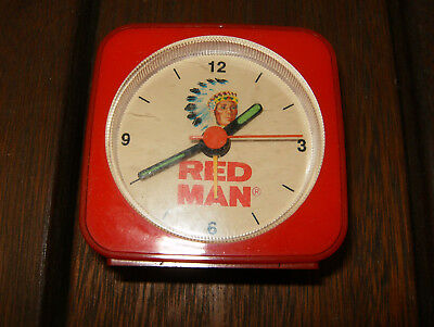 Vintage Red Man Logo Portable Red Clock Tested Works!
