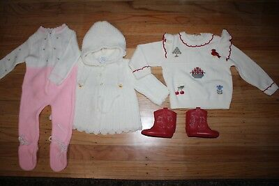 Vtg Knit Romper 0-3-6 mos Sweater Cardigan Red Leather baby Smoky Boots 1