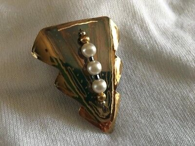 Bronze artist signed handmade fine detailed pin or pendant acid etched w/ pearls
