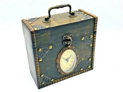 Rustic Antique Style Desk Clock in Wooden Chest with Handle Vintage Storage Box