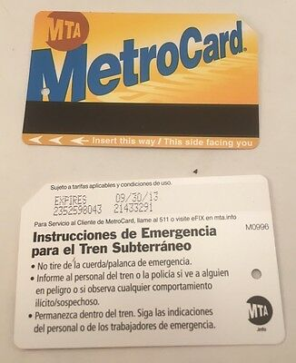 Two (2) NYC MTA Metrocard Collectible Expired Metro cCard With No Value New York