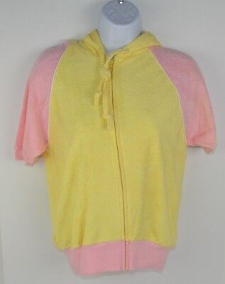 Vintage 1980's Women's Terry Cloth Full Zip Hooded Track Jacket Yellow/Pink L