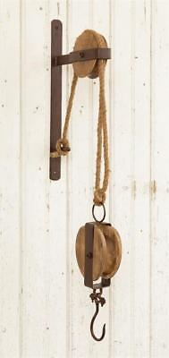 New Primitive Antique Style Rustic Round PULLEY HOOK Plant Lantern Wall Hanger