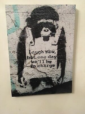 """Banksy Canvas Monkey Wall Art """"Laugh Now But One Day We ll Be In Charge """""""