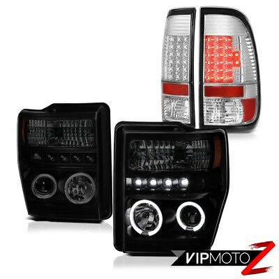 08-10 Ford F250 F350 SD SINISTER BLACK Halo LED Projector Headlamps Tail Lights