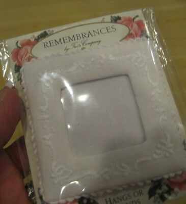 Vtg REMEMBRANCE Twos Company White Embroidered FRAME Baby Wedding Hang Stand 3""
