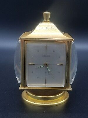 ANGELUS Vtg. Table Clock Swiss 8 Day Movement W/ Weather Station & Alarm g2