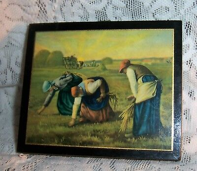 "VTG 50's ""The GLEANERS"" by JEAN FRANCOIS MILLET PAINTING Print on WOOD PLAQUE"