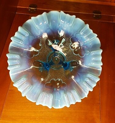 Blue Opalescent Glass DAISY AND PLUME Pattern 9in. 3-ftd Bowl  Circa 1907