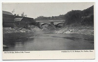 VT ~ Old Toll Bridge BELLOWS FALLS Vermont c1904 Windham County Postcard