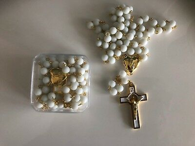 White Large Rosary Round Beads GOLD Necklace crucifix in gift box from Jerusalem