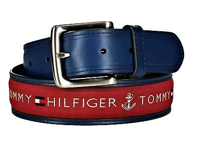 Tommy Hilfiger Men's Leather Casual Belt With Fabric Inlay Red