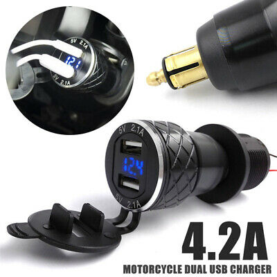 4.2A Motorcycle Dual USB Charger For BMW F800GS F650GS F700GS R1200GS EU Plug