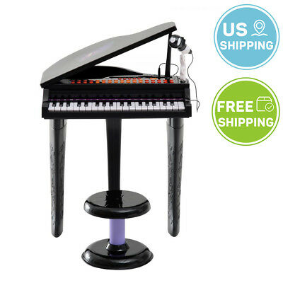 Kids Electronic Keyboard 37 Key Piano Musical Toy w/ Microphone & Stool Black