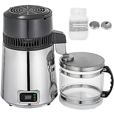 4L Water Distiller Temperature Controlled Purified W/Water Bottle Alcohol 750W