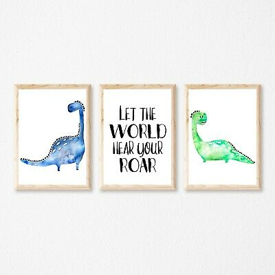 Set of 3 Dinosaur,Can be Personalised with NAME, Wall Art Decor Boys ,Nursery