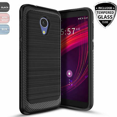For Alcatel TCL LX Brushed Armor Rubber Phone Case Cover+Black Tempered Glass