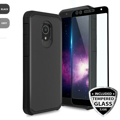 For Alcatel TCL LX Shockproof Rubber Phone Case Cover+Black Tempered Glass