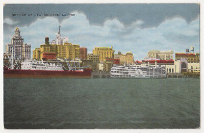 New Orleans Louisiana c1950 Skyline, Waterfront, Freighter, Steamer, vintage pc