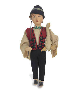 Vintage 1940s 1950s Hungarian Felt Doll Boy With Goose International Souvenir