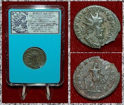 Ancient Roman Empire Coin POSTUMUS Hercules On Reverse Silvered Antoninianus