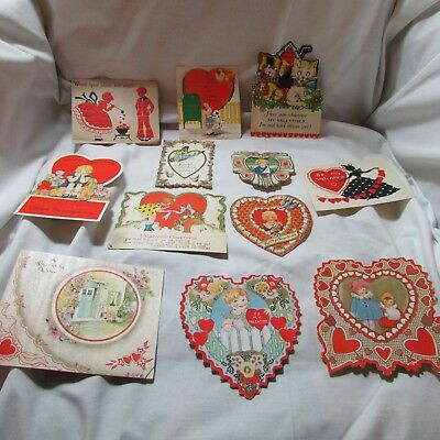 Vintage 1920's-30's Lot of 12 Valentine's Day Greeting Cards, Diecut