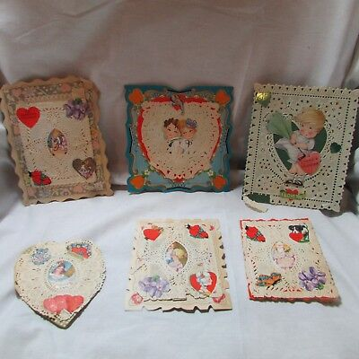 Vintage 1920's-30's Lot of 6 Valentine's Day Greeting Cards, Paper Lace