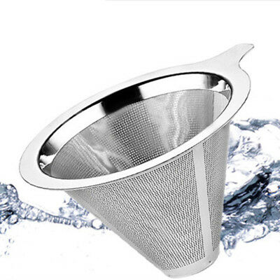 1*Coffee Filter Tea Strainer Funnel Stainless Steel Mesh Pour Over Cone Dripper~