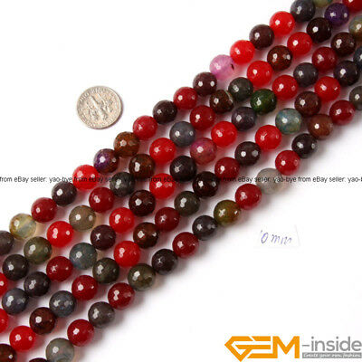 """Multi-Color Agate Gemstone Faceted Round Loose Beads For Jewelry Making 15"""" YB"""