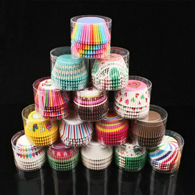 100pcs Muffins Paper Cupcakes Wrappers Bake Cups Boxes Cake Decor Tools