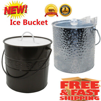 3L Insulated Double Wall Stainless Ice Bucket Wine Drink Cooler Beer Xmas Party