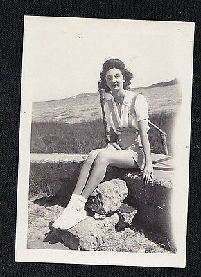 Vintage Antique Photograph Sexy Woman in Shorts Sitting on Wall by Water